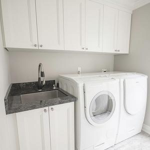 M White Laundry Room Cabinets Sink Above Washer Dryer Cyclone Valves